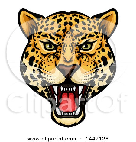 Clipart of a Fierce Roaring Jaguar Mascot Head - Royalty Free Vector Illustration by Vector Tradition SM