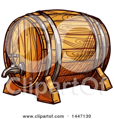 Clipart of a Sketched Wine Barrel or Beer Keg - Royalty Free Vector Illustration by Vector Tradition SM