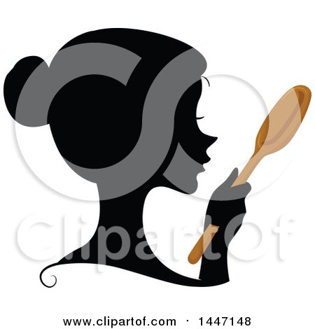 Clipart of a Black Silhouetted Woman's Profiled Face with a Wooden Spoon - Royalty Free Vector Illustration by BNP Design Studio
