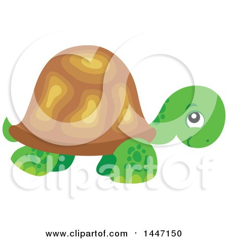 Clipart of a Cute Tortoise Turtle - Royalty Free Vector Illustration by visekart