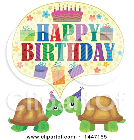 Clipart of a Happy Birthday Greeting over a Cute Party Tortoise Turtle Couple - Royalty Free Vector Illustration by visekart