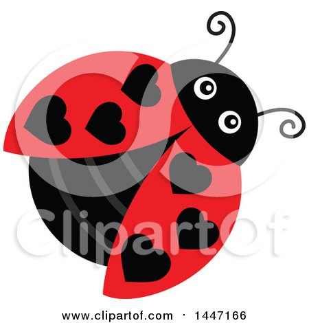 Clipart of a Cute Ladybug with Black Heart Shaped Dots - Royalty Free Vector Illustration by visekart