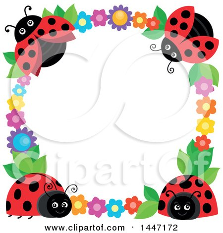 Clipart of a Cute Ladybug and Flower Frame - Royalty Free Vector Illustration by visekart