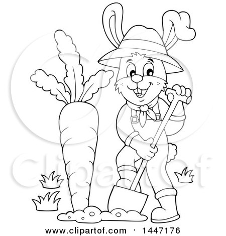 Clipart of a Cartoon Black and White Happy Gardener Bunny Rabbit Digging up a Giant Carrot - Royalty Free Vector Illustration by visekart
