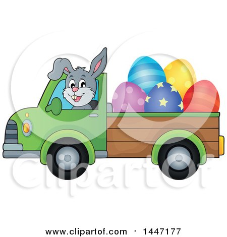 Clipart of a Cartoon Happy Easter Bunny Rabbit Transporting Eggs in a Pickup Truck - Royalty Free Vector Illustration by visekart