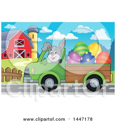 Clipart of a Cartoon Happy Easter Bunny Rabbit Transporting Eggs from a Farm in a Pickup Truck - Royalty Free Vector Illustration by visekart