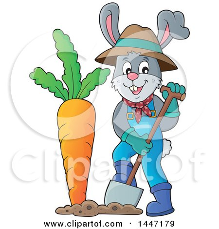 Clipart of a Cartoon Happy Gardener Bunny Rabbit Digging up a Giant Carrot - Royalty Free Vector Illustration by visekart