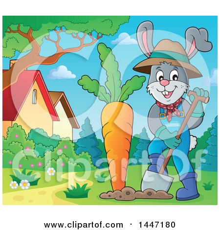 Clipart of a Cartoon Happy Gardener Bunny Rabbit Digging up a Giant Carrot in a Yard - Royalty Free Vector Illustration by visekart