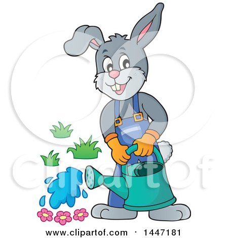 Clipart of a Cartoon Happy Gardener Bunny Rabbit Using a Watering Can - Royalty Free Vector Illustration by visekart