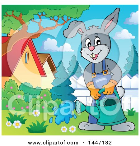 Clipart of a Cartoon Happy Gardener Bunny Rabbit Using a Watering Can in a Yard - Royalty Free Vector Illustration by visekart