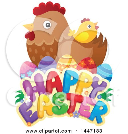 Clipart of a Happy Easter Greeting with a Hen, Eggs and Chick - Royalty Free Vector Illustration by visekart