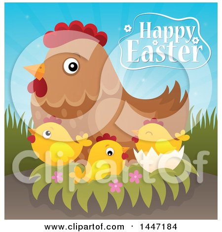 Clipart of a Happy Easter Greeting with a Hen and Chicks on a Nest - Royalty Free Vector Illustration by visekart