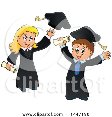 Clipart of a Cartoon Caucasian Girl Graduate Tossing Her Cap and Boy Cheering - Royalty Free Vector Illustration by visekart