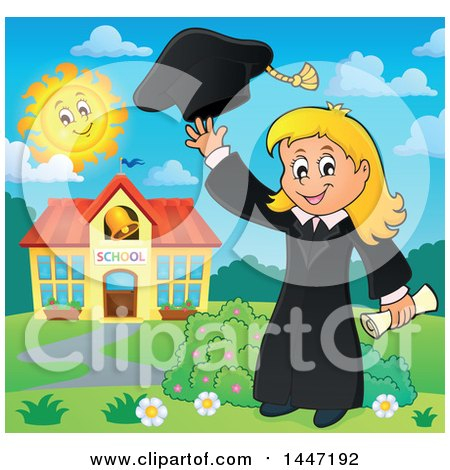 Clipart of a Cartoon Caucasian Girl Graduate Tossing Her Cap - Royalty Free Vector Illustration by visekart