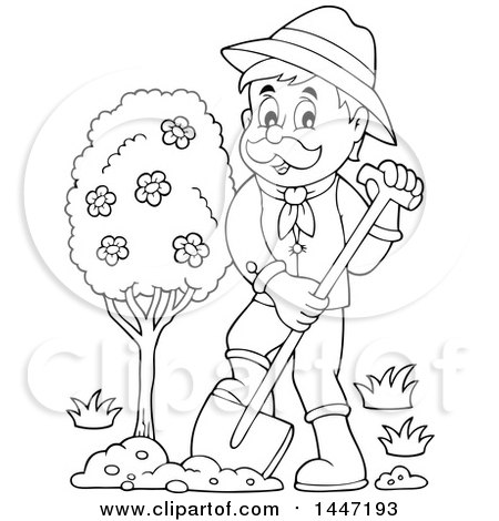 Clipart Of A Black And White Lineart Male Gardener Planting A Tree