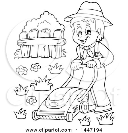 Clipart of a Black and White Lineart Male Gardener or Landscaper Mowing a Lawn - Royalty Free Vector Illustration by visekart