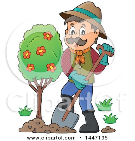 Clipart of a Cartoon Caucasian Male Gardener Planting a Tree - Royalty Free Vector Illustration by visekart
