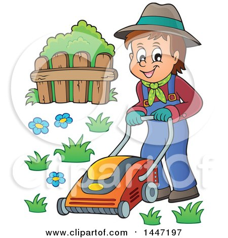 Clipart of a Cartoon Caucasian Male Gardener or Landscaper Mowing a Lawn - Royalty Free Vector Illustration by visekart