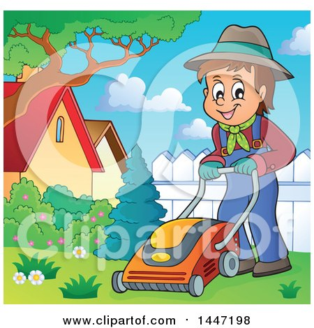 Clipart of a Cartoon Caucasian Male Gardener or Landscaper Mowing a Yard - Royalty Free Vector Illustration by visekart