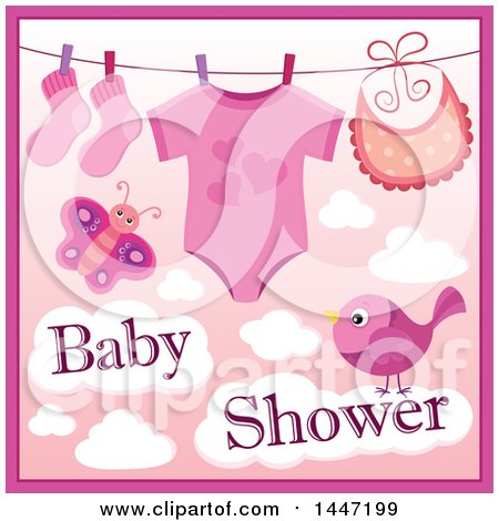Clipart of a Pink Girl Baby Shower Design with a Onesie, Socks and Bib on a Clothesline over a Butterfly and Bird with Clouds - Royalty Free Vector Illustration by visekart