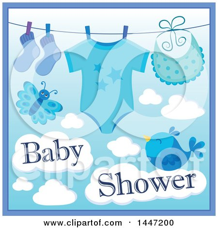 Clipart of a Blue Boy Baby Shower Design with a Onesie, Socks and Bib on a Clothesline over a Butterfly and Bird with Clouds - Royalty Free Vector Illustration by visekart