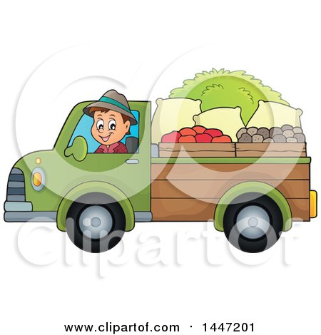 Clipart of a Cartoon Caucasian Male Farmer Transporting His Harvest in a Pickup Truck - Royalty Free Vector Illustration by visekart