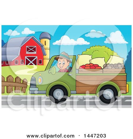 Clipart of a Cartoon Caucasian Male Farmer Transporting His Food in a Pickup Truck - Royalty Free Vector Illustration by visekart