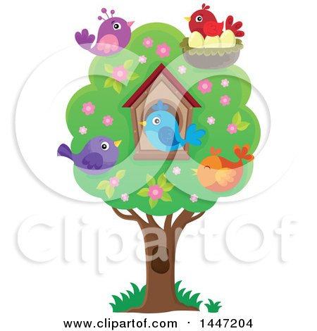 Clipart Of A House And Birds In A Tree With Spring Blossoms Royalty Free Vector Illustration