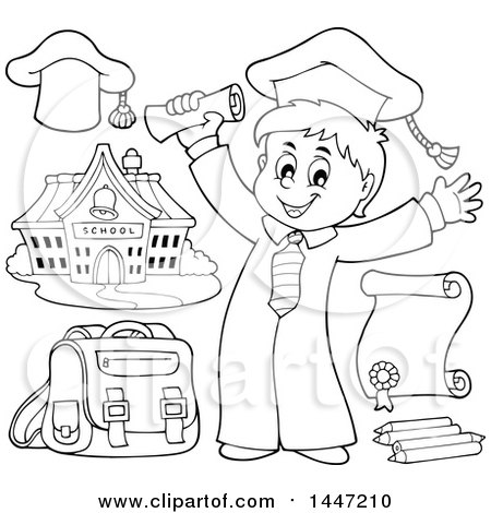 Clipart of a Cartoon Black and White Lineart Graduate Boy and School Items - Royalty Free Vector Illustration by visekart