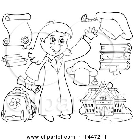 Clipart of a Cartoon Black and White Lineart Graduate Girl and School Items - Royalty Free Vector Illustration by visekart