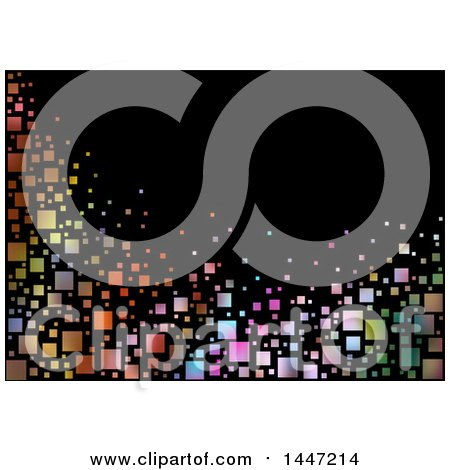 Clipart of a Background of Gradient Colorful Tiles on Black - Royalty Free Vector Illustration by dero