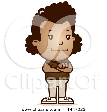 Clipart of a Retro Bored or Stubborn African American Girl Standing with Folded Arms - Royalty Free Vector Illustration by Cory Thoman