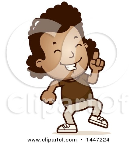 Clipart of a Retro African American Girl Doing a Happy Dance - Royalty Free Vector Illustration by Cory Thoman