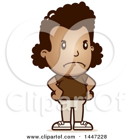 Clipart of a Retro Angry African American Girl with Hands on Her Hips - Royalty Free Vector Illustration by Cory Thoman