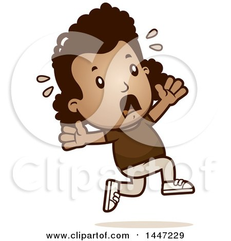 Clipart of a Retro African American Girl Running Scared - Royalty Free Vector Illustration by Cory Thoman