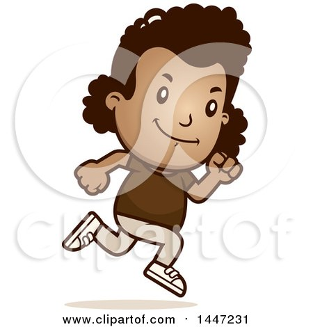 Clipart of a Retro African American Girl Running - Royalty Free Vector Illustration by Cory Thoman