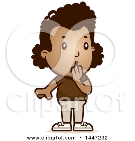 Clipart of a Retro Surprised Gasping African American Girl - Royalty Free Vector Illustration by Cory Thoman