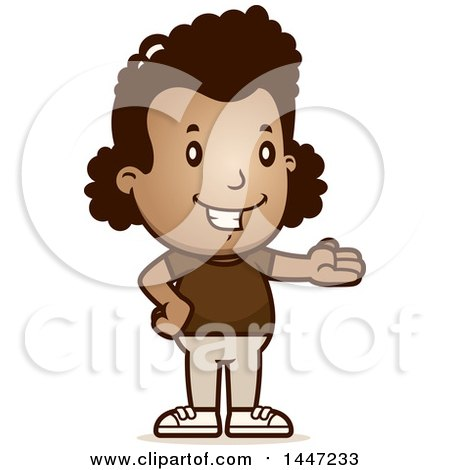 Clipart of a Retro African American Girl Presenting - Royalty Free Vector Illustration by Cory Thoman