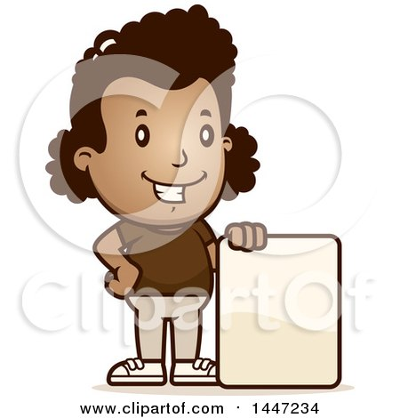 Clipart of a Retro African American Girl with a Blank Sign - Royalty Free Vector Illustration by Cory Thoman