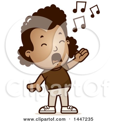 Clipart of a Retro African American Girl Singing - Royalty Free Vector Illustration by Cory Thoman