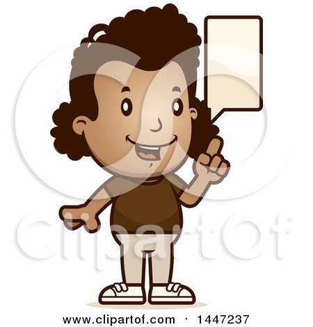 Clipart of a Retro African American Girl Talking - Royalty Free Vector Illustration by Cory Thoman