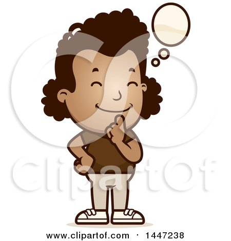 Clipart of a Retro African American Girl Thinking - Royalty Free Vector Illustration by Cory Thoman