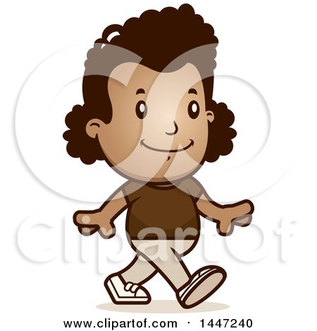 Clipart of a Retro African American Girl Walking - Royalty Free Vector Illustration by Cory Thoman