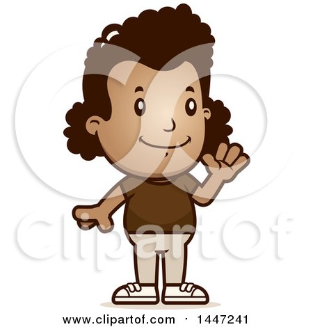 Clipart of a Retro African American Girl Waving - Royalty Free Vector Illustration by Cory Thoman