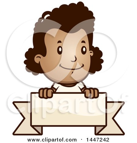 Clipart of a Retro African American Girl over a Blank Ribbon Banner - Royalty Free Vector Illustration by Cory Thoman