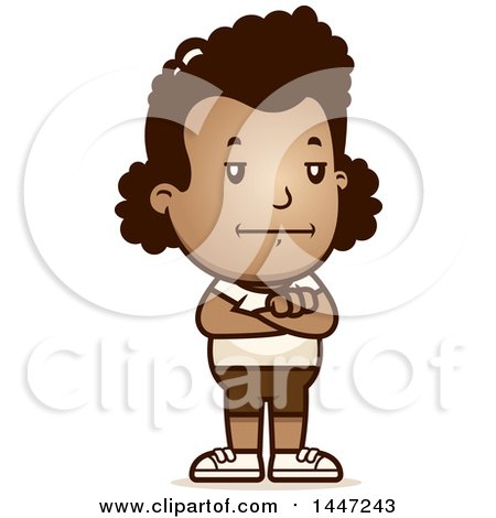 Clipart of a Retro Bored or Stubborn African American Girl in Shorts, Standing with Folded Arms - Royalty Free Vector Illustration by Cory Thoman