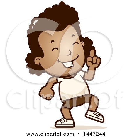 Clipart of a Retro African American Girl in Shorts, Doing a Happy Dance - Royalty Free Vector Illustration by Cory Thoman