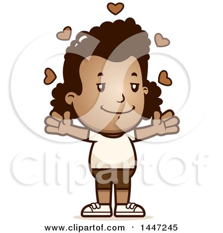 Clipart of a Retro African American Girl in Shorts, with Open Arms and Love Hearts - Royalty Free Vector Illustration by Cory Thoman