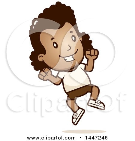 Clipart of a Retro African American Girl Jumping in Shorts - Royalty Free Vector Illustration by Cory Thoman