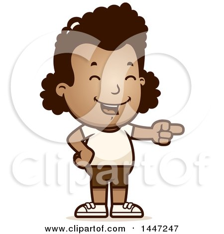Clipart of a Retro African American Girl in Shorts, Laughing and Pointing - Royalty Free Vector Illustration by Cory Thoman